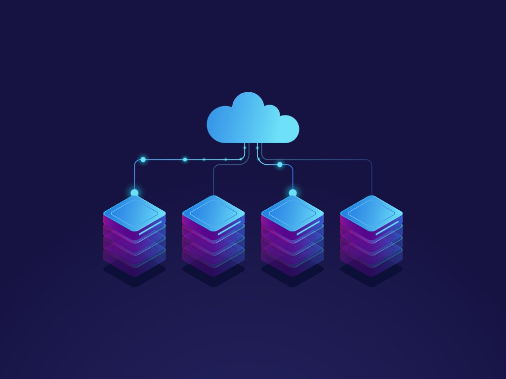 Server room, cloud storage icon, datacenter.